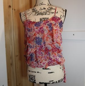 American Eagle Floral Ruffled Tank top